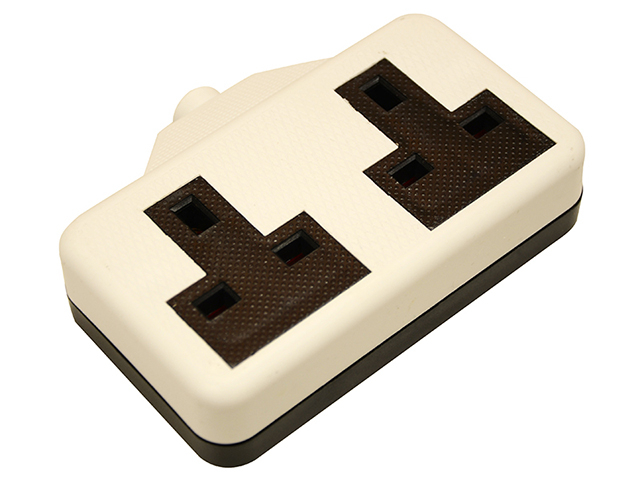 SMJ White Trailing Extension Socket 13A 2 Gang SMJRTS2GW