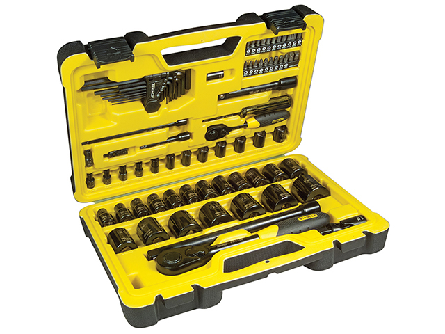 Stanley Tools Tech 3 Socket Set of 78 1/4in & 1/2in Drive STA072655