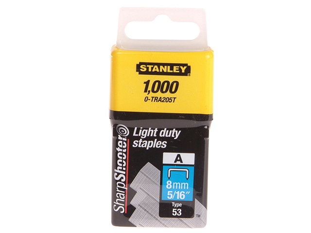 Stanley Tools TRA2 Light-Duty Staple 8mm TRA205T Pack 1000 STA0TRA205T