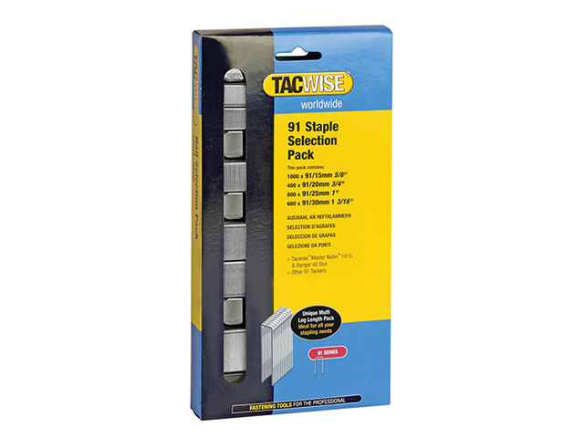 Tacwise 91 Narrow Crown Divergent Point Staples Selection - Electric Tackers Pack 2800 TAC0204