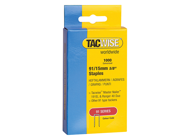 Tacwise 91 Narrow Crown Staples 15mm - Electric Tackers Pack 1000 TAC0283