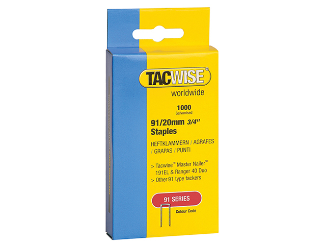 Tacwise 91 Narrow Crown Staples 20mm - Electric Tackers Pack 1000 TAC0284