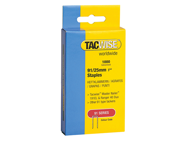 Tacwise 91 Narrow Crown Staples 25mm - Electric Tackers Pack 1000 TAC0285