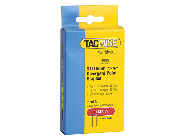 Tacwise 91 Narrow Crown Divergent Point Staples 18mm - Electric Tackers Pack 1000 TAC0287