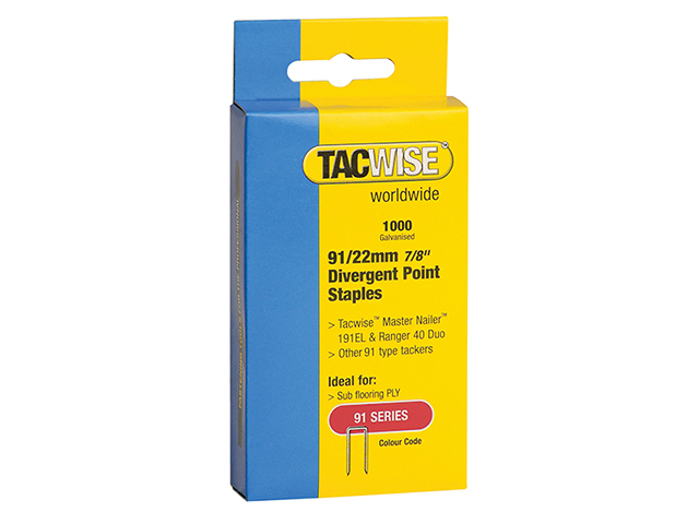 Tacwise 91 Narrow Crown Divergent Point Staples 22mm - Electric Tackers Pack 1000 TAC0288