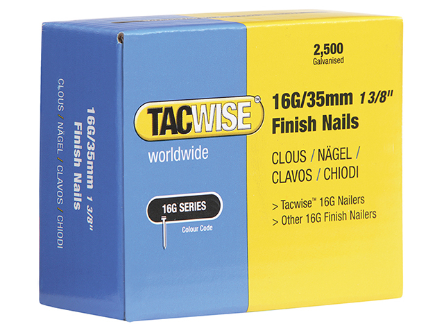 Tacwise 16 Gauge Straight Finish Nails 35mm Pack 2500 TAC0295