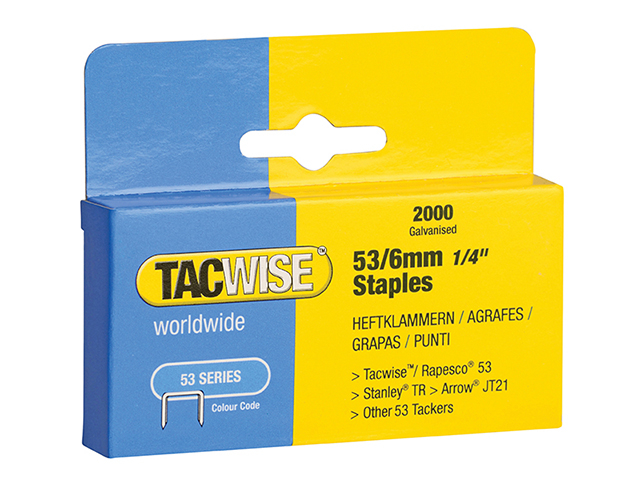 Tacwise 53 Light-Duty Staples 6mm (Type JT21  A) Pack 2000 TAC0334