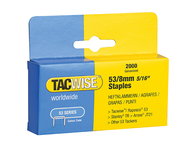 Tacwise 53 Light-Duty Staples 8mm (Type JT21  A) Pack 2000 TAC0335