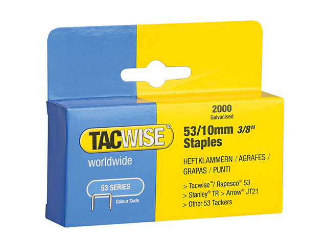 Tacwise 53 Light-Duty Staples 10mm (Type JT21  A) Pack 2000 TAC0336