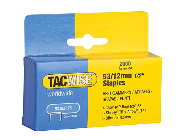Tacwise 53 Light-Duty Staples 12mm (Type JT21  A) Pack 2000 TAC0337