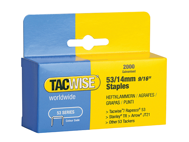 Tacwise 53 Light-Duty Staples 14mm (Type JT21  A) Pack 2000 TAC0338