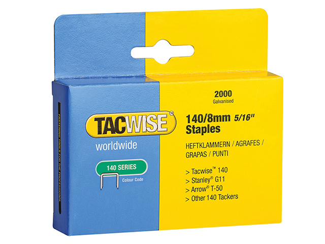 Tacwise 140 Heavy-Duty Staples 8mm (Type T50  G) Pack 2000 TAC0346
