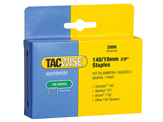 Tacwise 140 Heavy-Duty Staples 10mm (Type T50  G) Pack 2000 TAC0347