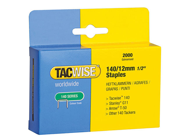 Tacwise 140 Heavy-Duty Staples 12mm (Type T50  G) Pack 2000 TAC0348