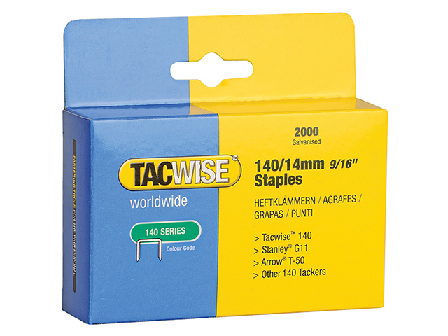 Tacwise 140 Heavy-Duty Staples 14mm (Type T50  G) Pack 2000 TAC0349