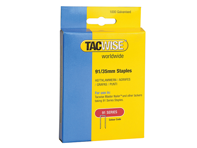 Tacwise 91 Narrow Crown Staples 35mm - Electric Tackers Pack 1000 TAC0746