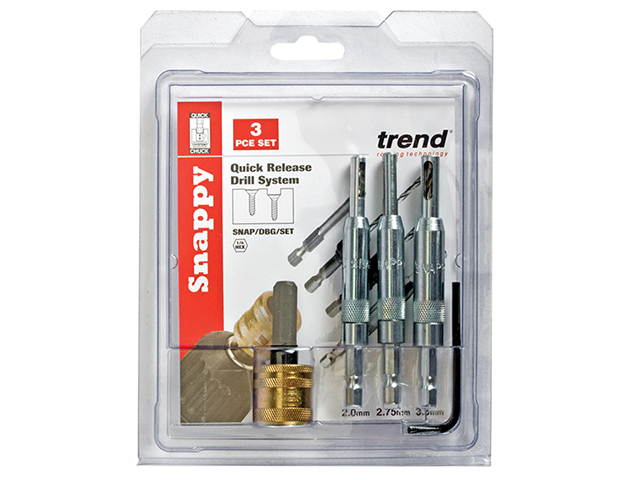 Trend SNAP/DBG/SET Drill Bit Guide Set with Quick Chuck - 5/64in 7/64in & 9/64in TRESNAPDBGS