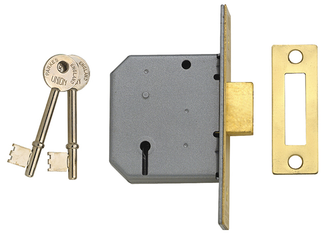 UNION 2177 3 Lever Mortice Deadlock Polished Brass 77.5mm 3in Box UNNJ2177PL30