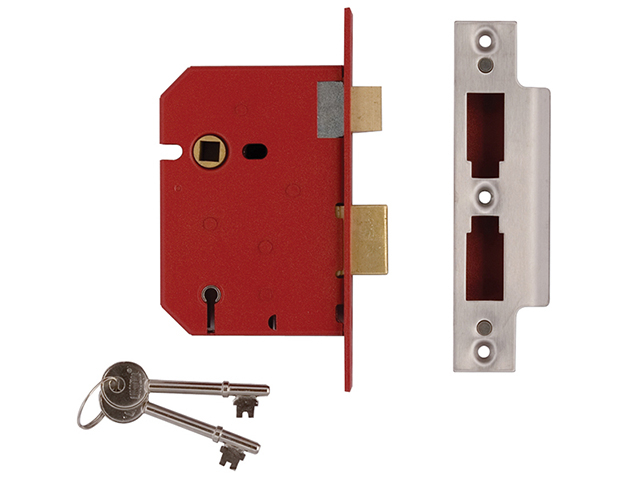 2201 5 Lever Mortice Sashlock Satin Chrome 65mm 2.5in Box