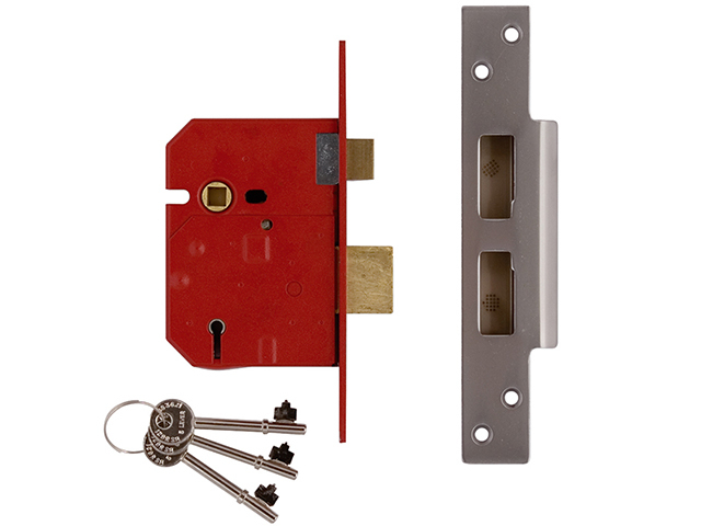 2234E 5 Lever BS Mortice Sashlock Satin Chrome Finish 67mm 2.5in Box