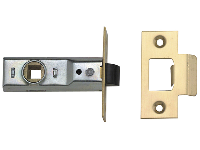 UNION Tubular Mortice Latch 2648 Polished Brass 64mm 2.5in Box UNNJ2648PL25