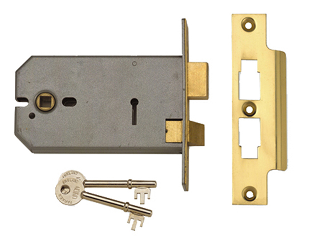 2077-5 3 Lever Horizontal Mortice Lock Satin Chrome 124mm