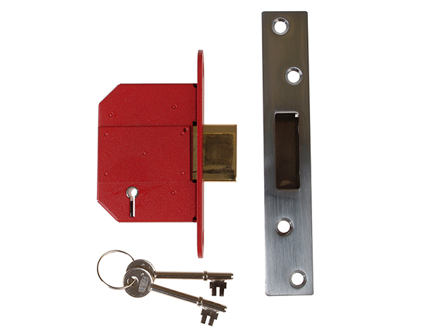 UNION StrongBOLT 2100S BS 5 Lever Mortice Deadlock 68mm 2.5in Satin Chrome Visi UNNY2100SC25