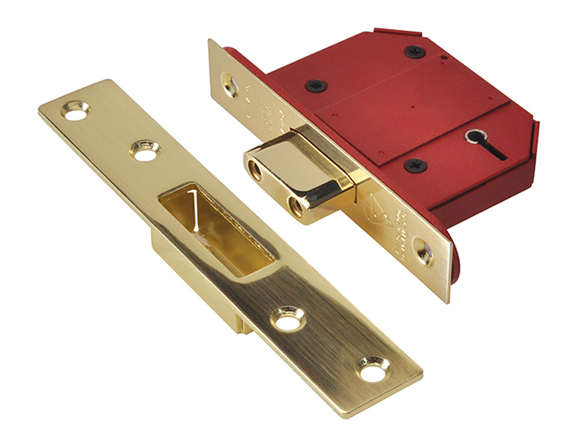 UNION StrongBOLT 2100S BS 5 Lever Mortice Deadlock 68mm 2.5in Satin Brass Visi UNNY2100SP25