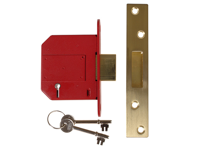 UNION StrongBOLT 2100S BS 5 Lever Mortice Deadlock 81mm 3in Satin Brass Visi UNNY2100SP30