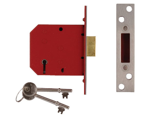 UNION 2101 5 Lever Mortice Deadlock Satin Brass Finish 65mm 2.5in Visi UNNY2101PL25