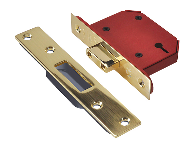 UNION StrongBOLT 2103S 3 Lever Mortice Deadlock Polished Brass 81mm 3in Visi UNNY2103PB30