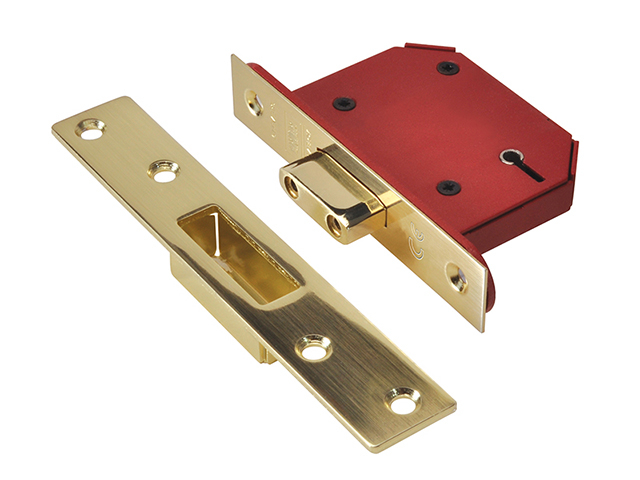 UNION StrongBOLT 2105S Polished Brass 5 Lever Mortice Deadlock Visi 68mm 2.5in UNNY2105PB25