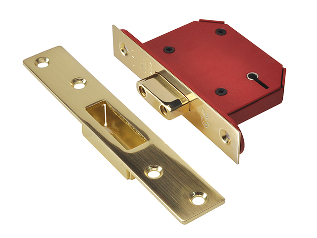 UNION StrongBOLT 2105S Polished Brass 5 Lever Mortice Deadlock Visi 81mm 3in UNNY2105PB30