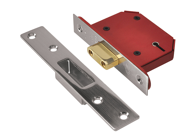 UNION StrongBOLT 2105S Stainless Steel 5 Lever Mortice Deadlock Visi 68mm 2.5in UNNY2105SS25