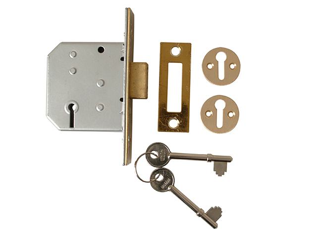 UNION 2177 3 Lever Mortice Deadlock Polished Brass 65mm 2.5in Visi UNNY2177PL25