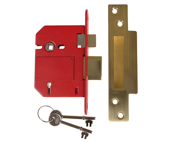 StrongBOLT 2200S BS 5 Lever Mortice Sashlock Satin Brass 81mm Visi