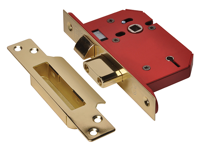 StrongBOLT 2205S 5 Lever Mortice Sashlock Polished Brass 68mm 2.5in Visi