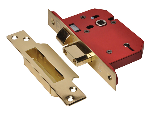 StrongBOLT 2205S 5 Lever Mortice Sashlock Polished Brass 81mm 3in Visi