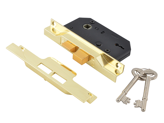 UNION 2242 2 Lever Mortice Rebated Sashlock Electro Brass 65.5mm 2.5in Visi UNNY2242EB25