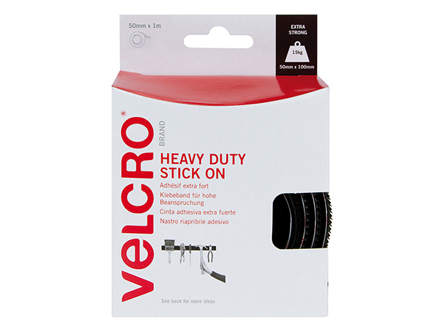 VELCRO® Brand VELCRO® Brand Heavy-Duty Stick On Tape 50mm x 5m Black VEL60243