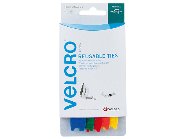 VELCRO® Brand VELCRO® Brand ONE-WRAP® Reusable Ties (5) 12mm x 20cm Multi-Colour VEL6