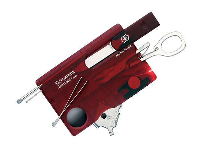 Victorinox SwissCard Lite Translucent Red Blister Pack VICJSWCLRDB
