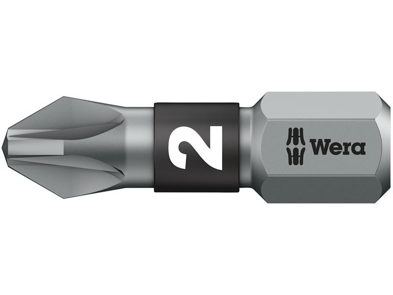 Wera 855/1 BTZ BiTorsion Pozidriv PZ2 Bit Extra Tough 25mm Pack 10 WER056722