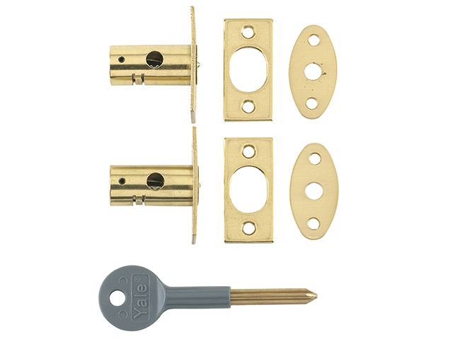 Yale Locks 8001 Security Bolts Brass Finish Pack of 2 Visi YALV80012PL