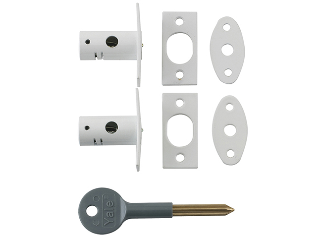 Yale Locks 8001 Security Bolts White Finish Pack of 2 Visi YALV80012WE
