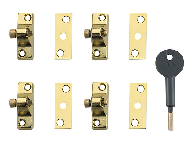 Yale Locks 8K118 Economy Window Lock Electro Brass Finish Pack of 4 Visi YALV8K1184EB
