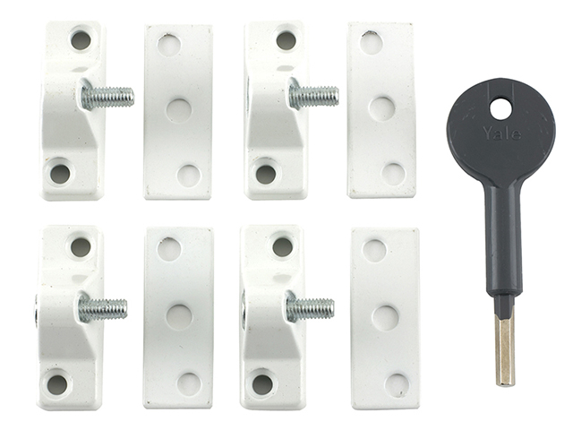 Yale Locks 8K118 Economy Window Lock White Finish Pack of 4 Visi YALV8K1184WE