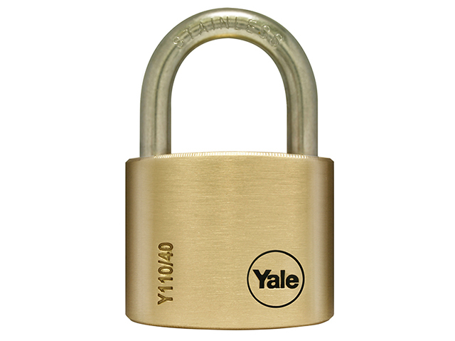 Yale Locks Y110 50mm Brass Padlock / Stainless Shackle YALY11050SS